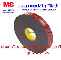 "3M 1/2"" x 9/15/21/108 VHB Double Sided Foam Adhesive Tape 59"