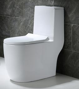 Woodbridge Dual Flush Elongated One Piece Toilet with Soft C