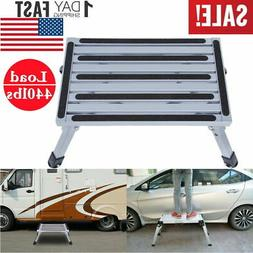 Folding Aluminum Platform Step Stool RV Trailer Camper Worki