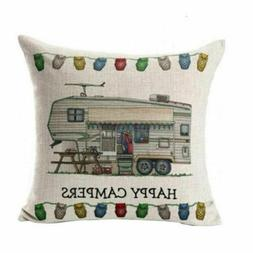HAPPY CAMPER - Couch Throw Pillow Cover Case RV Camper Campi