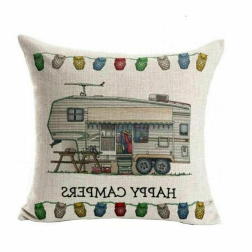 happy camper couch throw pillow cover case
