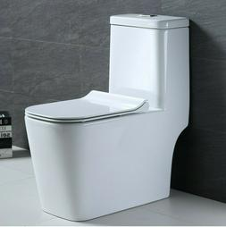 Hometure One Piece Toilet Elongated Square bowl Soft Closing