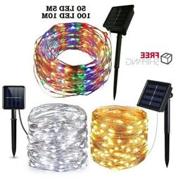 Outdoor Solar String Lights LED Waterproof Copper Wire Xmas