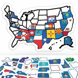 RV State Sticker Travel Map  50 - USA States Flag Visited De