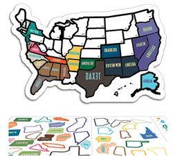 RV State Sticker Travel Map 50 USA States Trailer Camper Roa